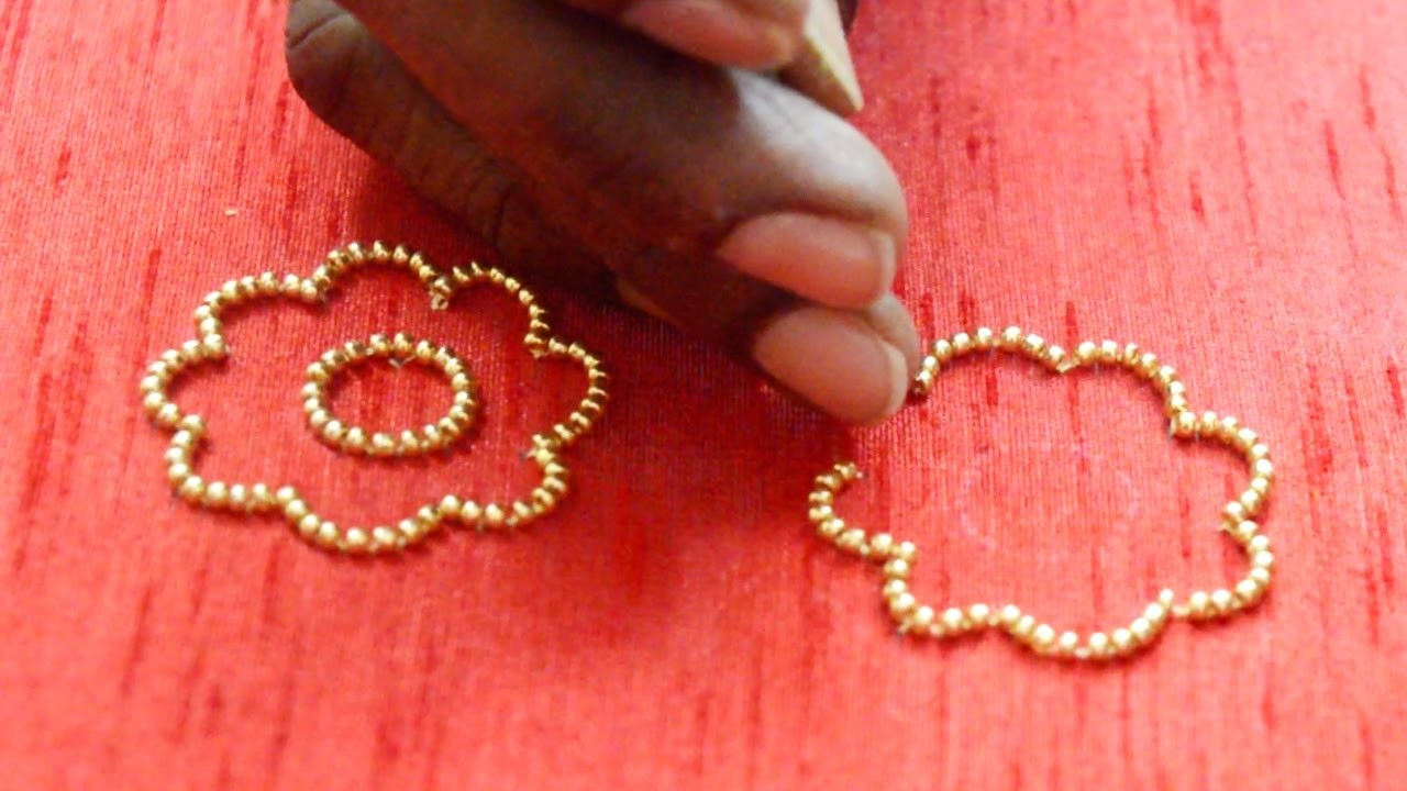 Making of Flower with Golden Beads - Maggam hand work video