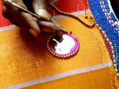 Making of Mirror work with Golden Beads Outlining - Maggam work making video