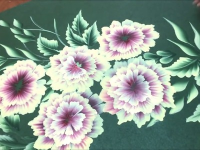 One Stroke Painting- Flower Cluster on Chart Paper