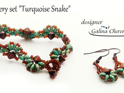 Turquoise Snake Bracelet with SuperDuo beads [Video Tutorial]