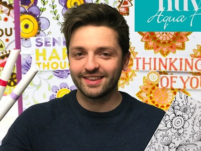 Colouring With Owain: Nuvo Aqua Flow and Craft Perfect Foil Card