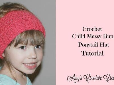 Crochet Child Messy Bun Ponytail Hat