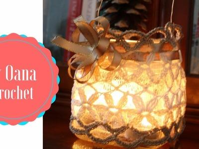 Crochet jar lantern  shabby chic style  by Oana