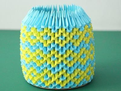 DIY: 3D Origami Brush.Pen Holder (Blue & Light Green)