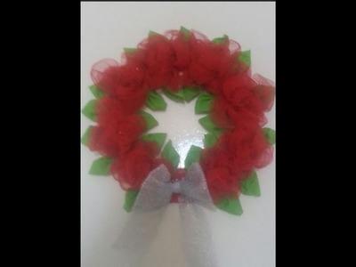DIY Home Decor - How to Make a Flower Wreath - Christmas Decoration + Tutorial .
