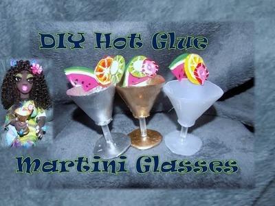 DIY - How to Make Doll Wine Martini Drinking Glasses  - Hot Glue Gun Doll Crafts