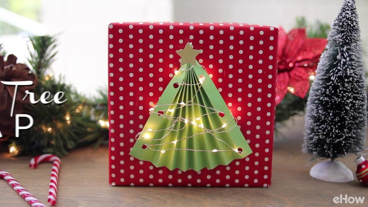 DIY Lighted Christmas Tree Gift Wrap