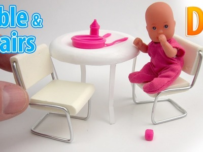 DIY Realistic Miniature Table and chairs | DollHouse | No Polymer Clay!