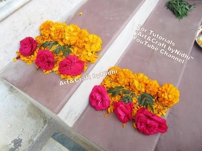 Easy DIY Fresh Rose Marigold Flower Petals Decoration Rangoli Design on Stairs- Home Decore Tips Tut