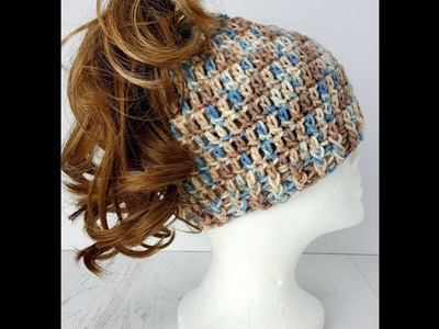 Easy to Crochet Messy Bun Hat