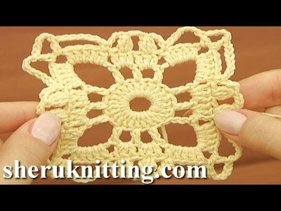 How to Crochet  Square Motif Tutorial 25 Part 1 of 2
