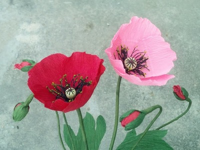 How To Make Poppy Flower From Crepe Paper - Craft Tutorial