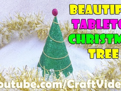 How to make tabletop Christmas tree with Craft Paper  |  Christmas Decoration Ideas 2016