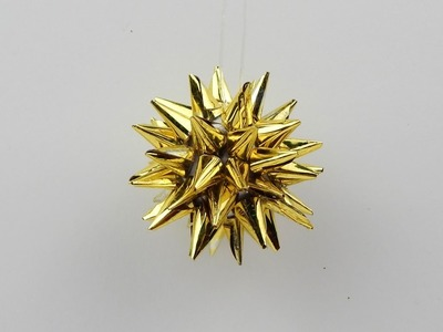 Christmas tree ornament star DIY - Xmas tree ornament star with golden colored foil tips DIY