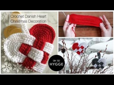 Crochet Danish Heart Christmas Decoration (Julehjerte)