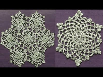 CROCHET Doily Motif Snowflake How to join motifs Part 2