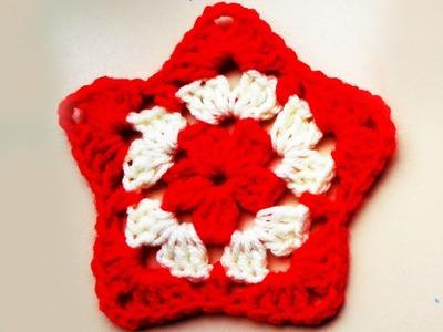 Crochet granny star applique