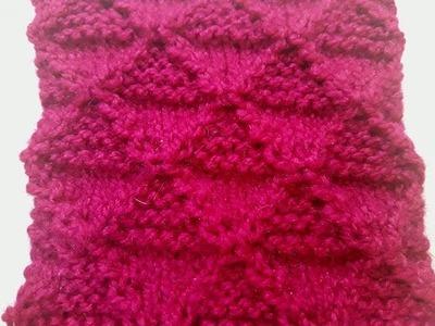 Diamond shape Knitting Stitch pattern no - 17 Hindi - बुनाई डिजाइन - one color