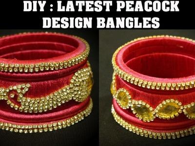 DIY | EASY PEACOCK DESIGN BANGLES | SILK THREAD BANGLES
