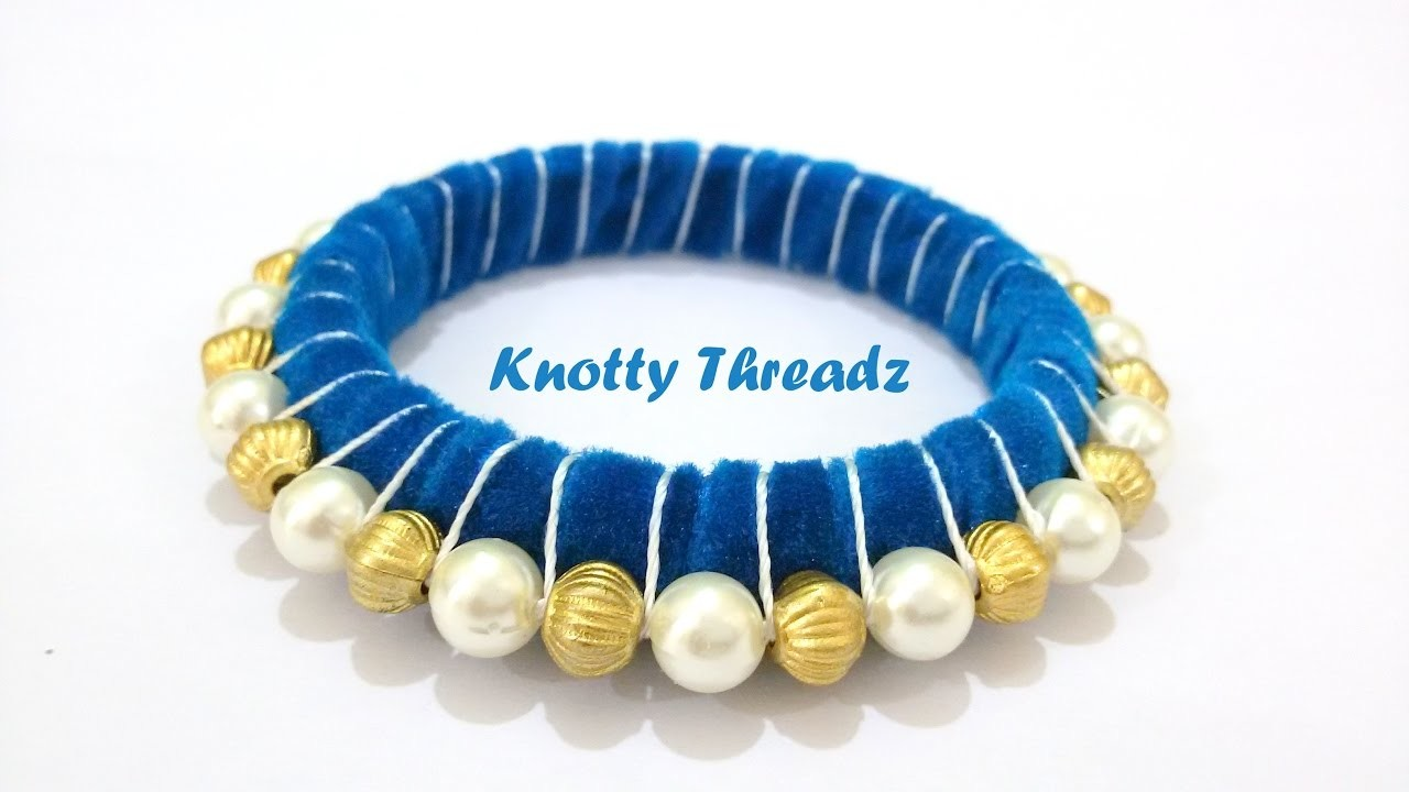 | DIY | How to make a Trendy Pearl Velvet Bangle at Home | Tutorial !!