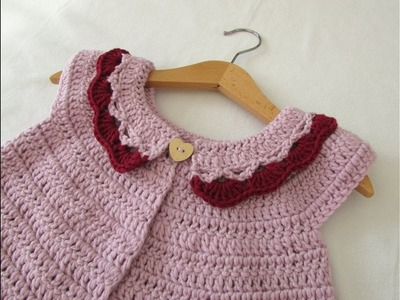 How to crochet a little girl's collar cardigan. sweater