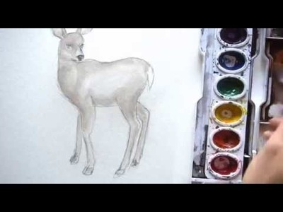How to draw and paint a DEER in watercolor