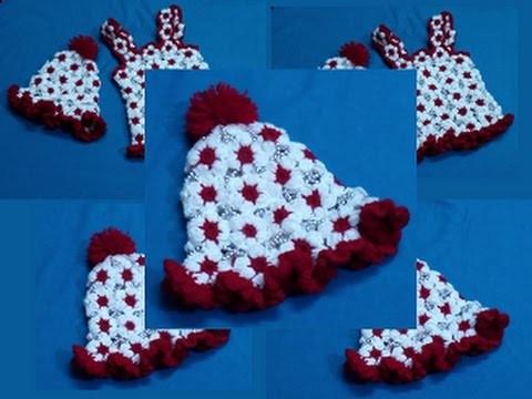 How to Make a Puff Flower Baby Cap. Crochet Cap