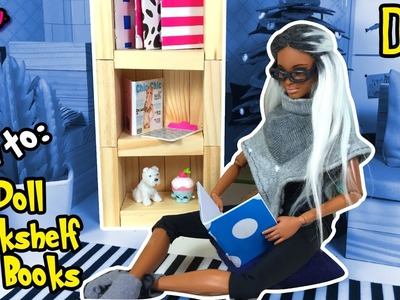 How to Make Barbie Doll Bookshelf and Books - DIY Dollhouse Tutorial - Making Kids Toys