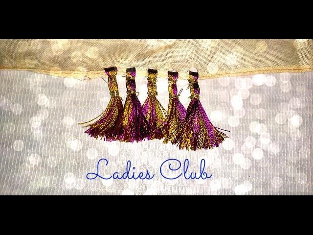 How to make Double Color Saree Kuchu. Tassels using Silk Thread Design - 2 | Tutorial !!