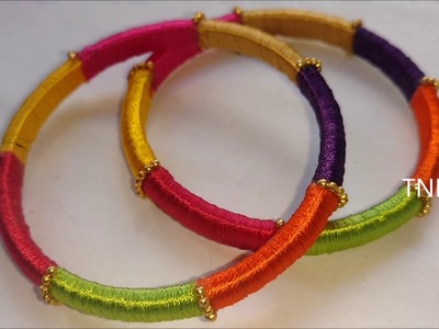 How to make multi colour silk thread bangles | multi color silk thread bangle, MultiColoured bangles
