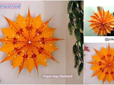 How to make paper bag star || Christmas decoration idea || paper bag starburst