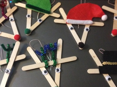 How to make reindeer ornaments out of popsicle sticks