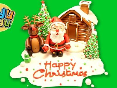How to Make Santa Claus Home | Play Doh Christmas Creations | Reindeer X'mas Tree