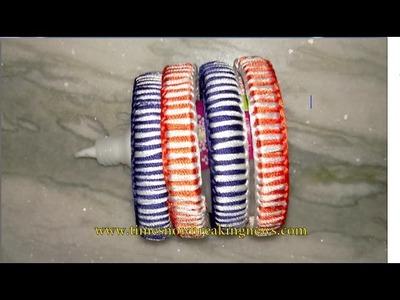 How to make silk thread bangles   zig zag silk thread bangle making, diy silk thread bangles