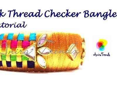 How to make silk thread checker model bangle at home - Designer Bangle Tutorial