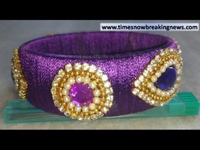 How to make Silk Thread Designer Stone Kada Bangle at Home !! Easy Beautiful Party Silk Thread Kada