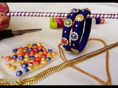 How to make silk thread fancy bangles with multi colour kundans at home easy and simple | DIY