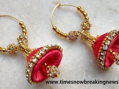 How to make silk thread jhumkas | silk thread jhumkas tutorial, silk thread earrings making