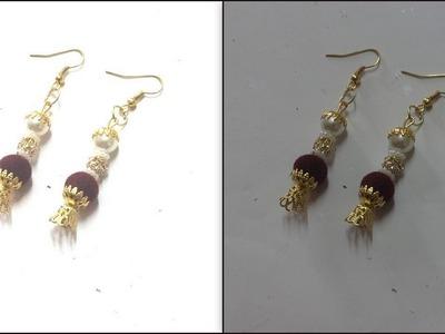 How to make Velvet Beads Earrings - Daily Wear