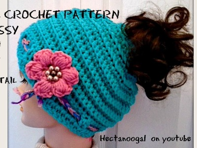 MESSY BUN HAT, Pony Tail Hat, FREE Crochet Pattern and free video