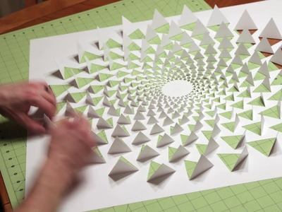 3D optical illusion wall art made using one sheet of paper