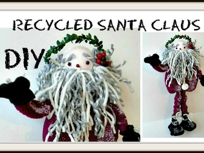 DIY- RECYCLED SANTA CLAUS FIGURE, using scrap cardboard and fabric