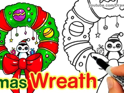How to Draw a Christmas Wreath and Bow step by step Easy and Cute
