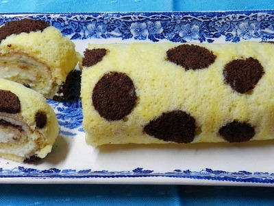 How To Make Polkadot Swiss Roll Cake  with Apple Cream