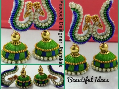 How to Make Silk Thread Peacock Designer Jhumkas. Earrings at Home
