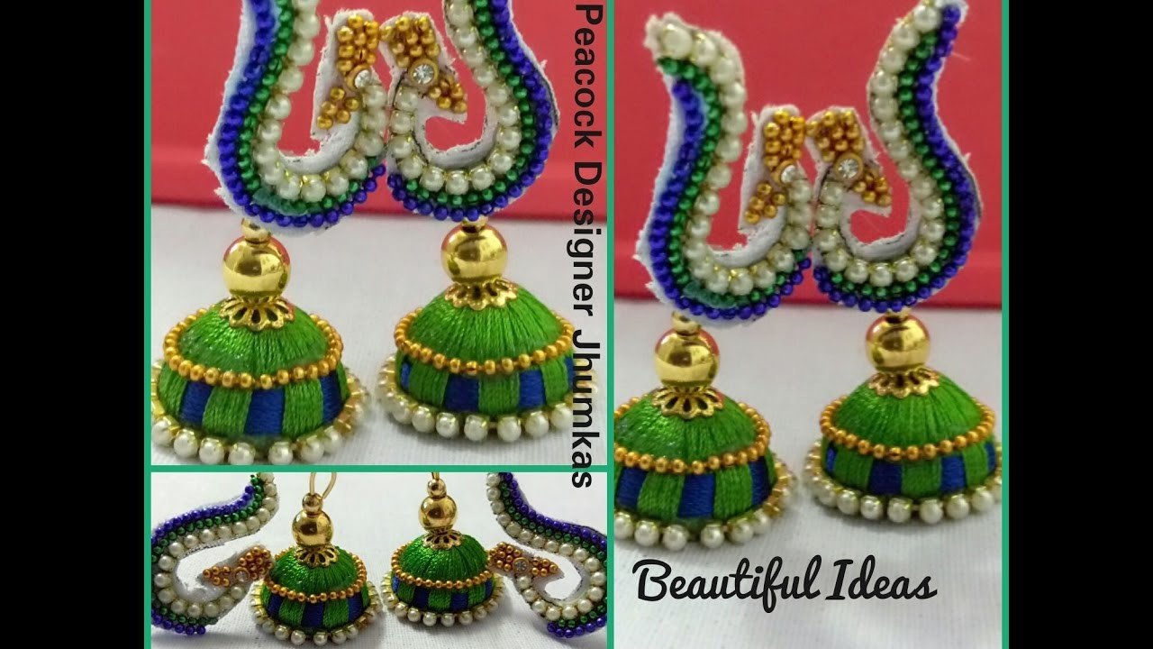 How to Make Silk Thread Peacock Designer Jhumkas. Earrings at Home