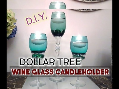 D.I.Y. Dollar Tree Wine Glass to Candleholder - Home Decor - $7