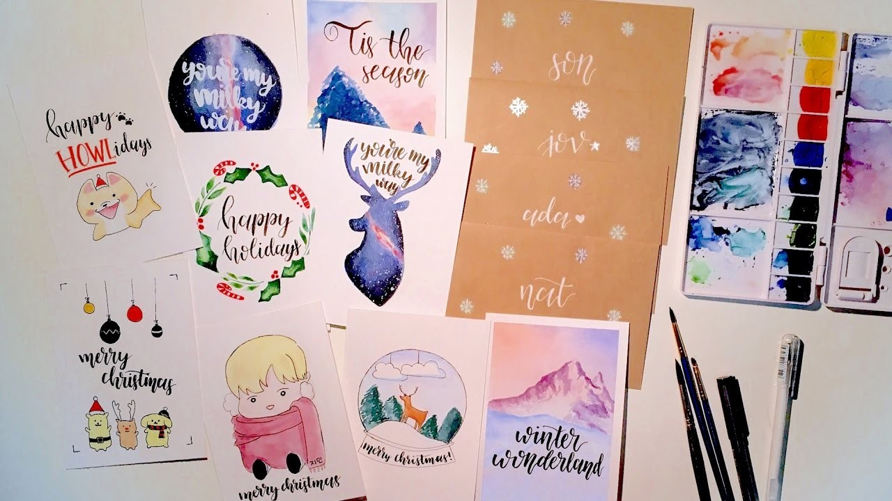 DIY christmas cards with watercolors