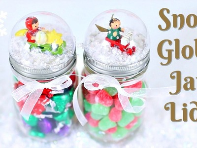 DIY SNOW GLOBE JAR LIDS!  EASY LAST MINUTE GIFT!