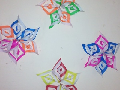 How to make snowflake paper flower for Diwali, Christmas and independence day